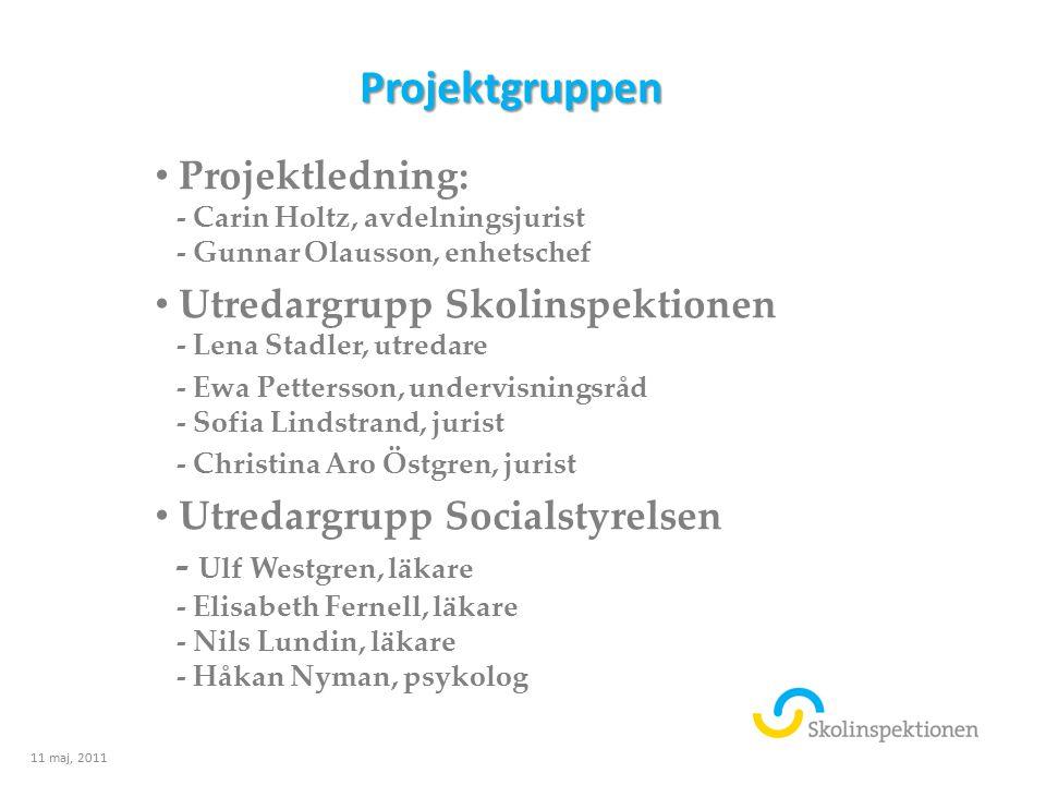 Projektgruppen Projektledning: - Carin Holtz, avdelningsjurist - Gunnar Olausson, enhetschef Utredargrupp Skolinspektionen - Lena Stadler, utredare -