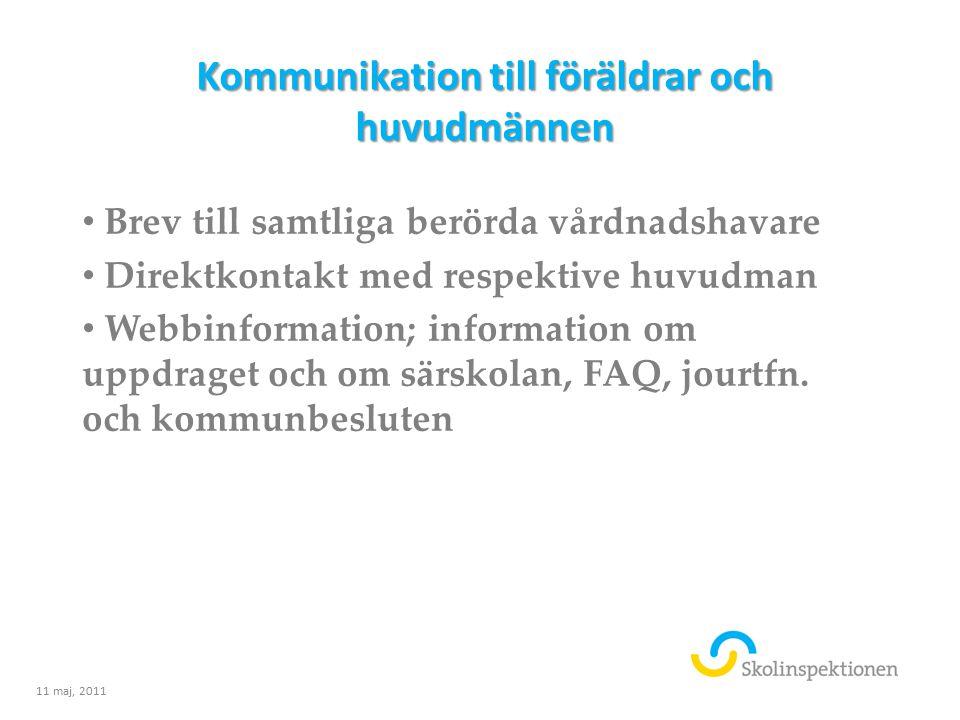 Kommunikation till föräldrar och huvudmännen Brev till samtliga berörda vårdnadshavare Direktkontakt med respektive huvudman Webbinformation; informat