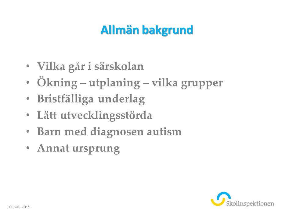 Allmän bakgrund Vilka går i särskolan Ökning – utplaning – vilka grupper Bristfälliga underlag Lätt utvecklingsstörda Barn med diagnosen autism Annat