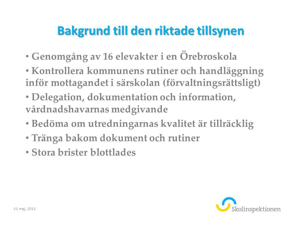 Bakgrund till den riktade tillsynen Genomgång av 16 elevakter i en Örebroskola Kontrollera kommunens rutiner och handläggning inför mottagandet i särs