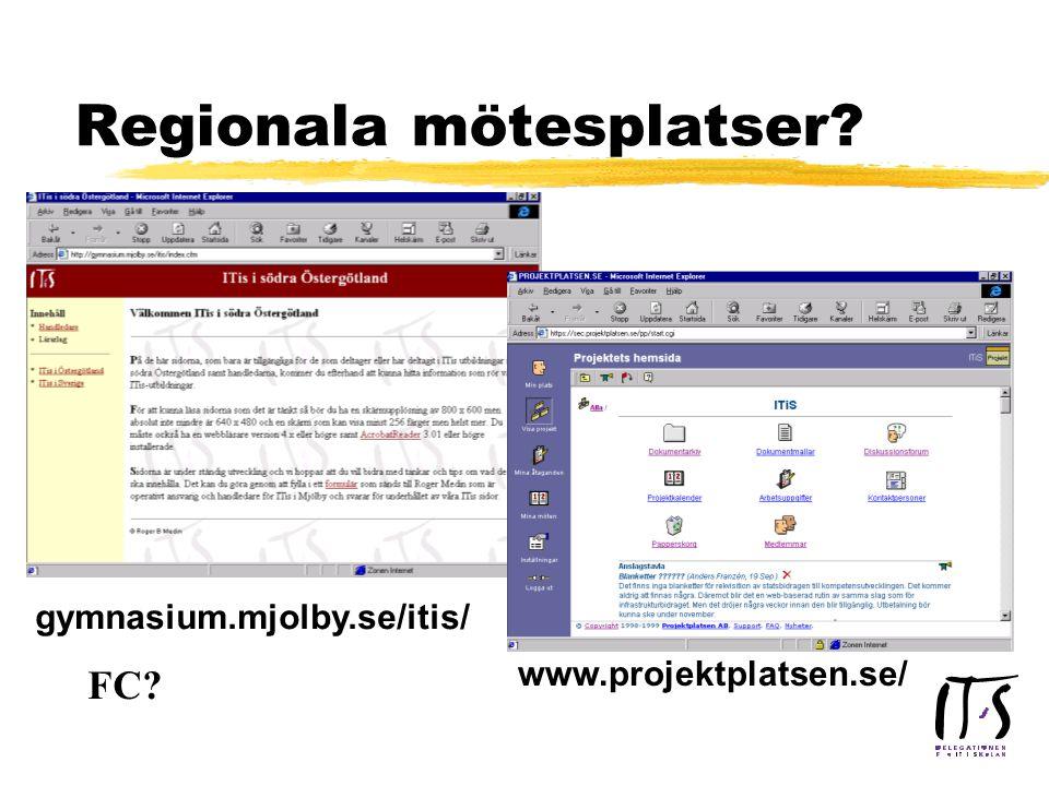 Regionala mötesplatser? www.projektplatsen.se/ gymnasium.mjolby.se/itis/ FC?