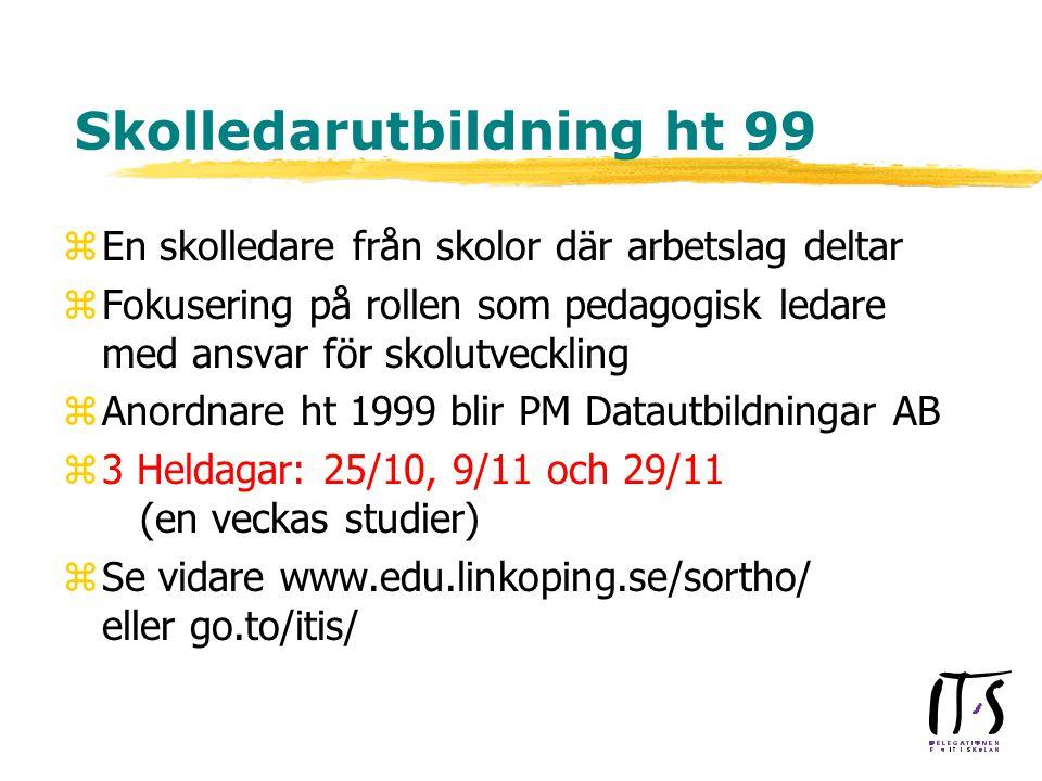 Skolledarutbildning ht 99 zEn skolledare från skolor där arbetslag deltar zFokusering på rollen som pedagogisk ledare med ansvar för skolutveckling zAnordnare ht 1999 blir PM Datautbildningar AB z3 Heldagar: 25/10, 9/11 och 29/11 (en veckas studier) zSe vidare www.edu.linkoping.se/sortho/ eller go.to/itis/