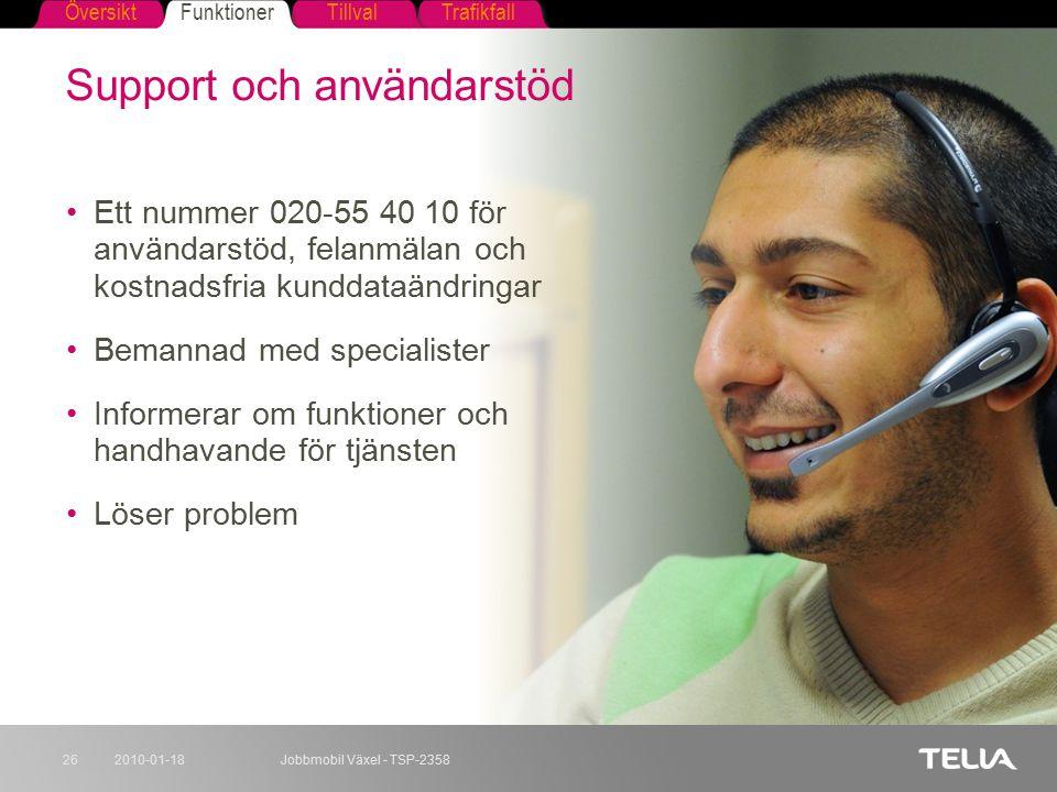 FunktionerTillvalTrafikfallÖversikt 2010-01-18Jobbmobil Växel - TSP-235826 Support och användarstöd Ett nummer 020-55 40 10 för användarstöd, felanmäl