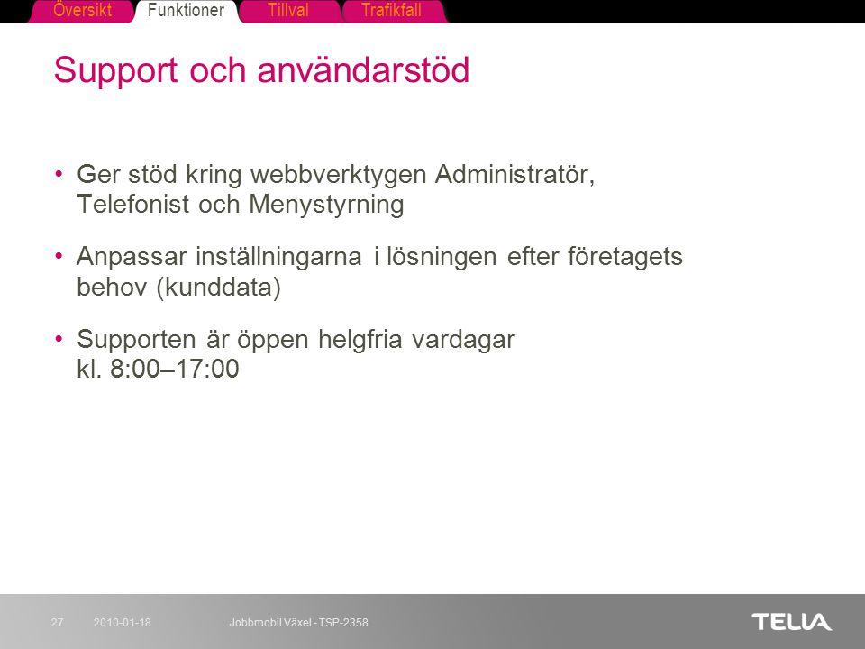 FunktionerTillvalTrafikfallÖversikt 2010-01-18Jobbmobil Växel - TSP-235827 Support och användarstöd Ger stöd kring webbverktygen Administratör, Telefo