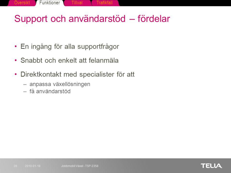 FunktionerTillvalTrafikfallÖversikt 2010-01-18Jobbmobil Växel - TSP-235828 Support och användarstöd – fördelar En ingång för alla supportfrågor Snabbt