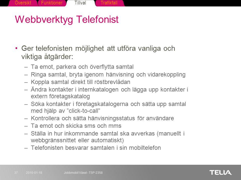 FunktionerTillvalTrafikfallÖversikt 2010-01-18Jobbmobil Växel - TSP-235837 Webbverktyg Telefonist Ger telefonisten möjlighet att utföra vanliga och vi