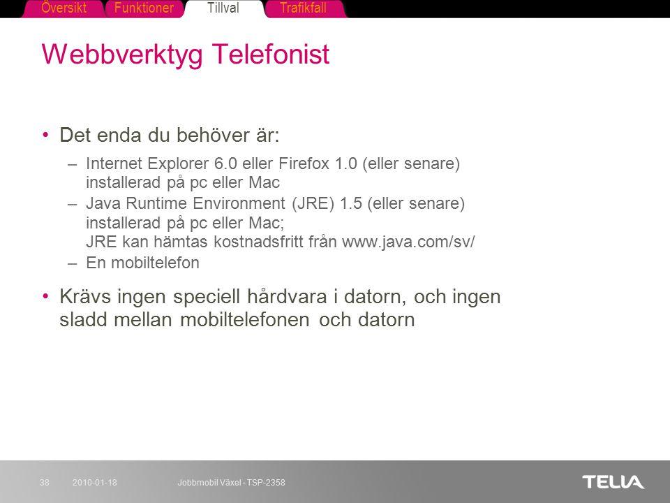 FunktionerTillvalTrafikfallÖversikt 2010-01-18Jobbmobil Växel - TSP-235838 Webbverktyg Telefonist Det enda du behöver är: –Internet Explorer 6.0 eller