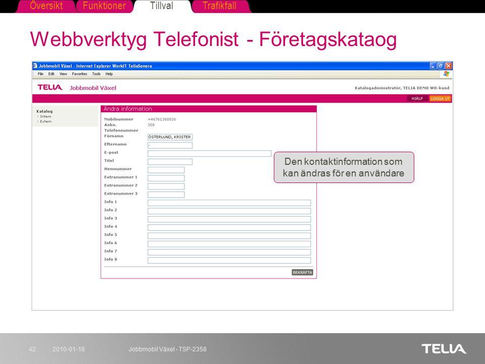 FunktionerTillvalTrafikfallÖversikt 2010-01-18Jobbmobil Växel - TSP-235842 Webbverktyg Telefonist - Företagskataog Den kontaktinformation som kan ändr