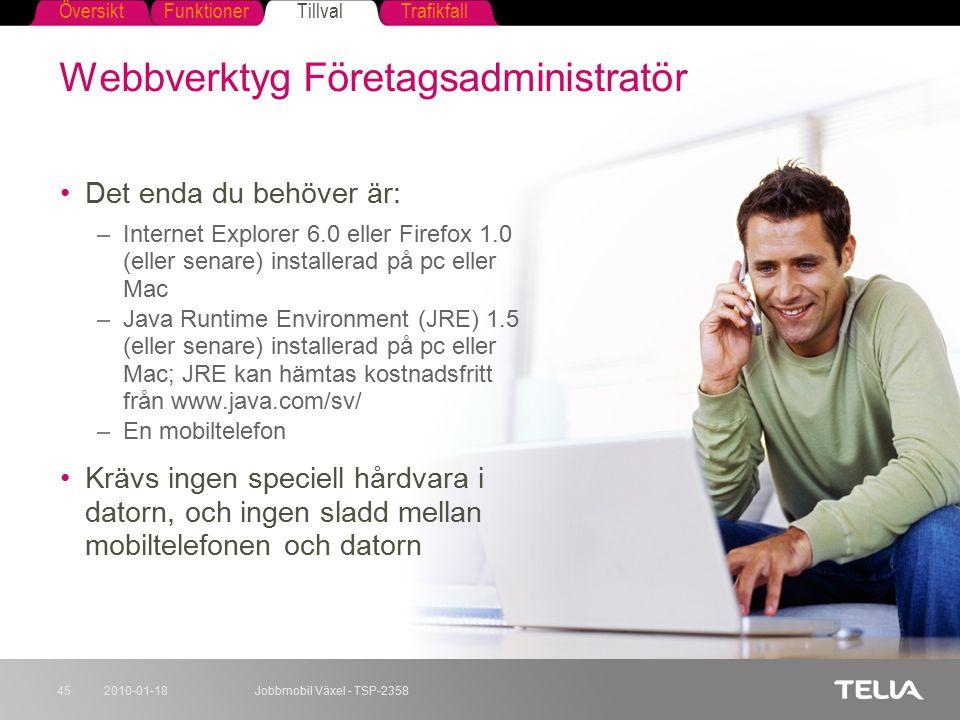 FunktionerTillvalTrafikfallÖversikt 2010-01-18Jobbmobil Växel - TSP-235845 Webbverktyg Företagsadministratör Det enda du behöver är: –Internet Explore