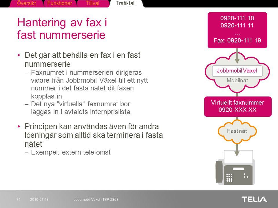 FunktionerTillvalTrafikfallÖversikt 2010-01-18Jobbmobil Växel - TSP-235871 Hantering av fax i fast nummerserie Det går att behålla en fax i en fast nu