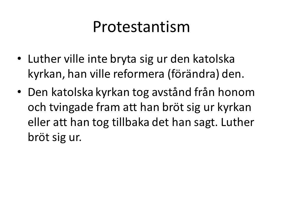 Protestantism Luther ville inte bryta sig ur den katolska kyrkan, han ville reformera (förändra) den. Den katolska kyrkan tog avstånd från honom och t