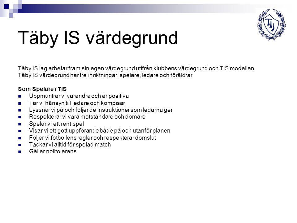 Täby IS värdegrund Täby IS lag arbetar fram sin egen värdegrund utifrån klubbens värdegrund och TIS modellen Täby IS värdegrund har tre inriktningar: