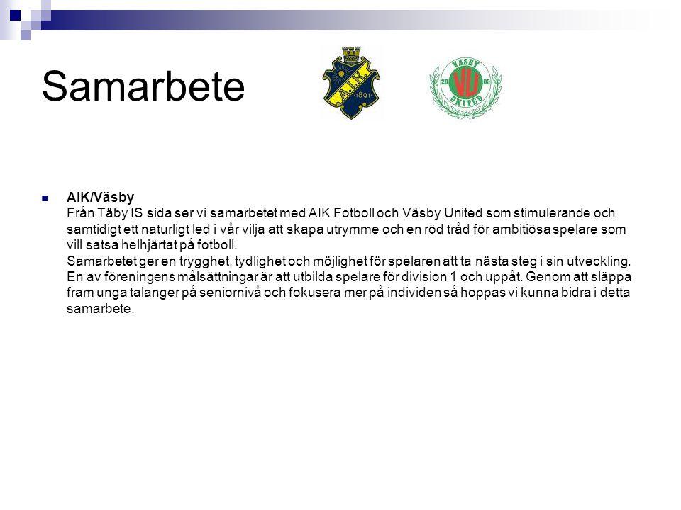 Samarbete AIK/Väsby Från Täby IS sida ser vi samarbetet med AIK Fotboll och Väsby United som stimulerande och samtidigt ett naturligt led i vår vilja