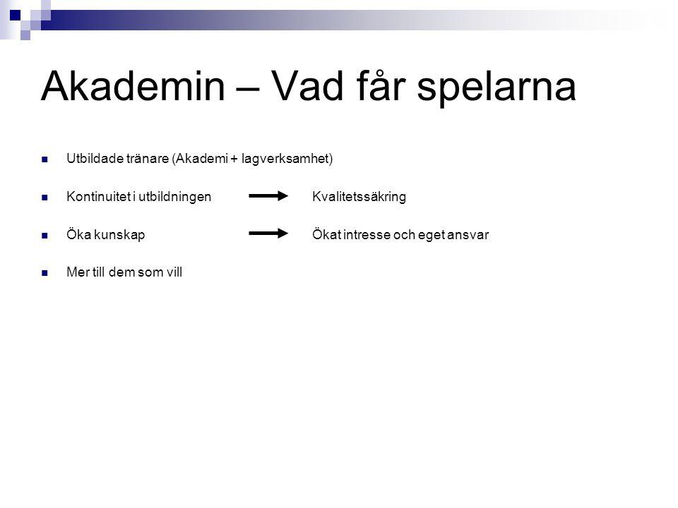 Akademin – Vad får spelarna Utbildade tränare (Akademi + lagverksamhet) Kontinuitet i utbildningen Kvalitetssäkring Öka kunskap Ökat intresse och eget