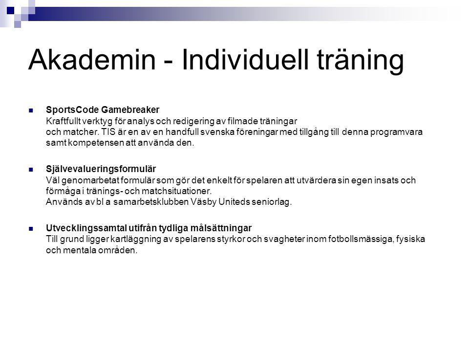 Akademin - Individuell träning SportsCode Gamebreaker Kraftfullt verktyg för analys och redigering av filmade träningar och matcher. TIS är en av en h
