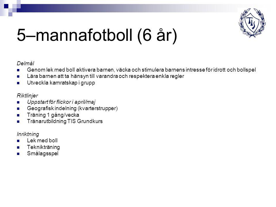 5–mannafotboll (6 år) Delmål Genom lek med boll aktivera barnen, väcka och stimulera barnens intresse för idrott och bollspel Lära barnen att ta hänsy
