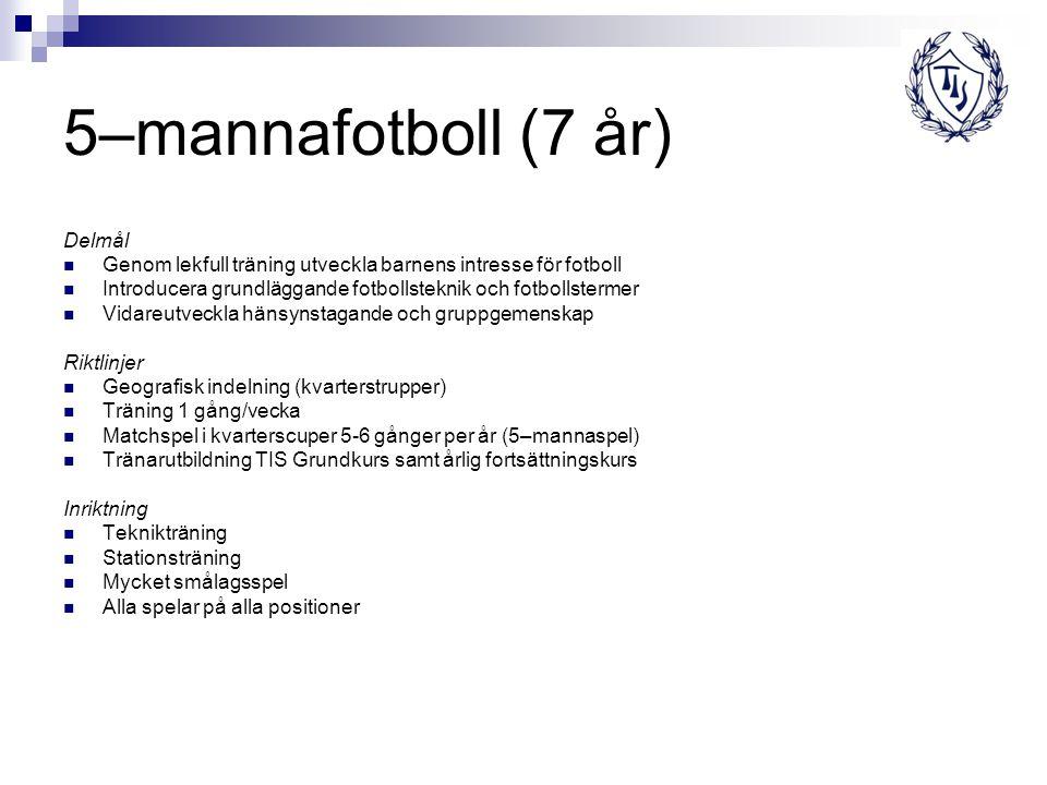 5–mannafotboll (7 år) Delmål Genom lekfull träning utveckla barnens intresse för fotboll Introducera grundläggande fotbollsteknik och fotbollstermer V