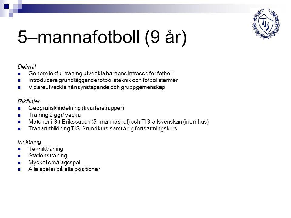 5–mannafotboll (9 år) Delmål Genom lekfull träning utveckla barnens intresse för fotboll Introducera grundläggande fotbollsteknik och fotbollstermer V