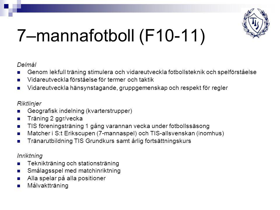 7–mannafotboll (F10-11) Delmål Genom lekfull träning stimulera och vidareutveckla fotbollsteknik och spelförståelse Vidareutveckla förståelse för term
