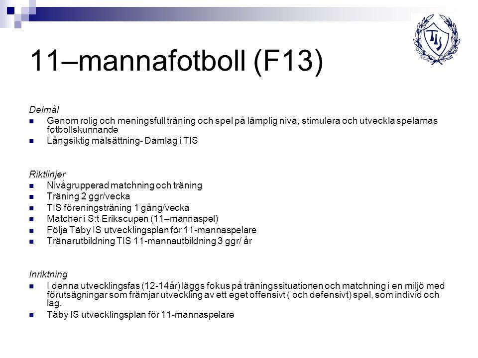 11–mannafotboll (F13) Delmål Genom rolig och meningsfull träning och spel på lämplig nivå, stimulera och utveckla spelarnas fotbollskunnande Långsikti