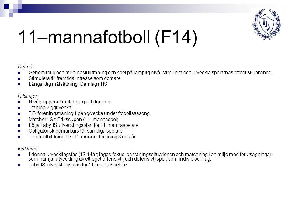 11–mannafotboll (F14) Delmål Genom rolig och meningsfull träning och spel på lämplig nivå, stimulera och utveckla spelarnas fotbollskunnande Stimulera