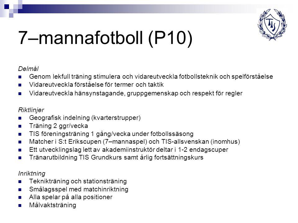 7–mannafotboll (P10) Delmål Genom lekfull träning stimulera och vidareutveckla fotbollsteknik och spelförståelse Vidareutveckla förståelse för termer