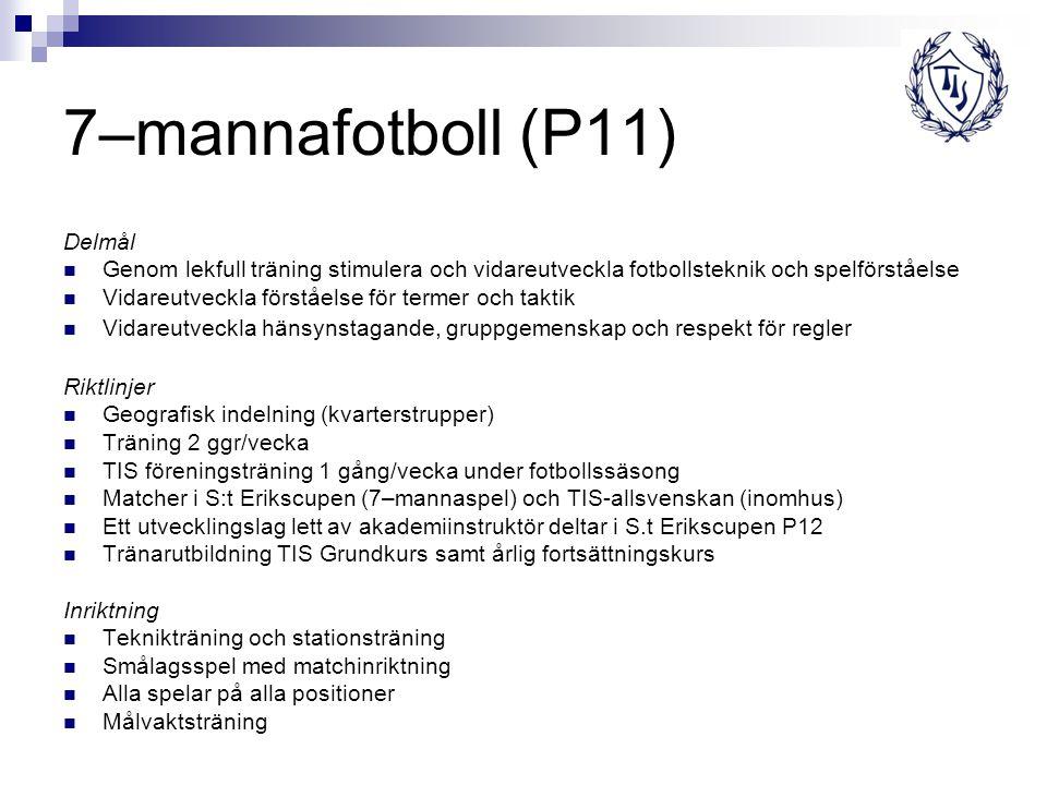 7–mannafotboll (P11) Delmål Genom lekfull träning stimulera och vidareutveckla fotbollsteknik och spelförståelse Vidareutveckla förståelse för termer