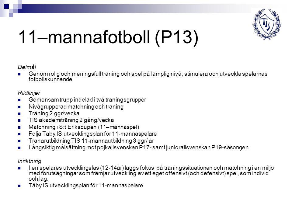 11–mannafotboll (P13) Delmål Genom rolig och meningsfull träning och spel på lämplig nivå, stimulera och utveckla spelarnas fotbollskunnande Riktlinje