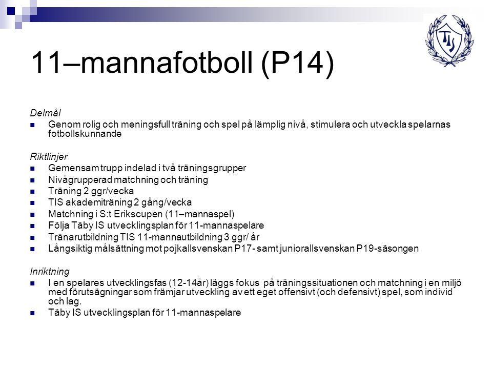 11–mannafotboll (P14) Delmål Genom rolig och meningsfull träning och spel på lämplig nivå, stimulera och utveckla spelarnas fotbollskunnande Riktlinje