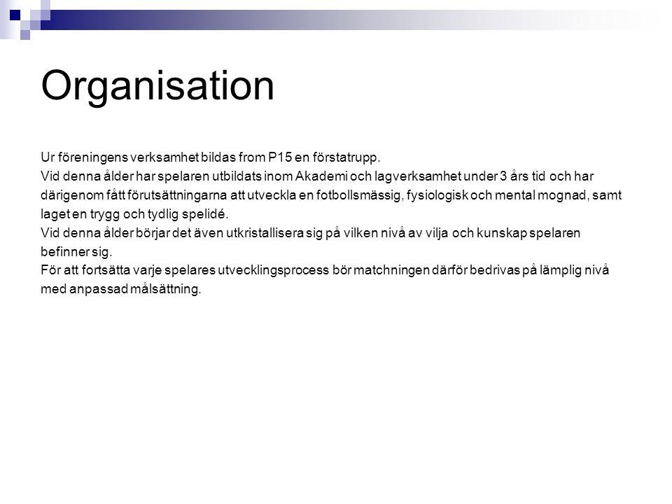 Organisation Ur föreningens verksamhet bildas from P15 en förstatrupp. Vid denna ålder har spelaren utbildats inom Akademi och lagverksamhet under 3 å