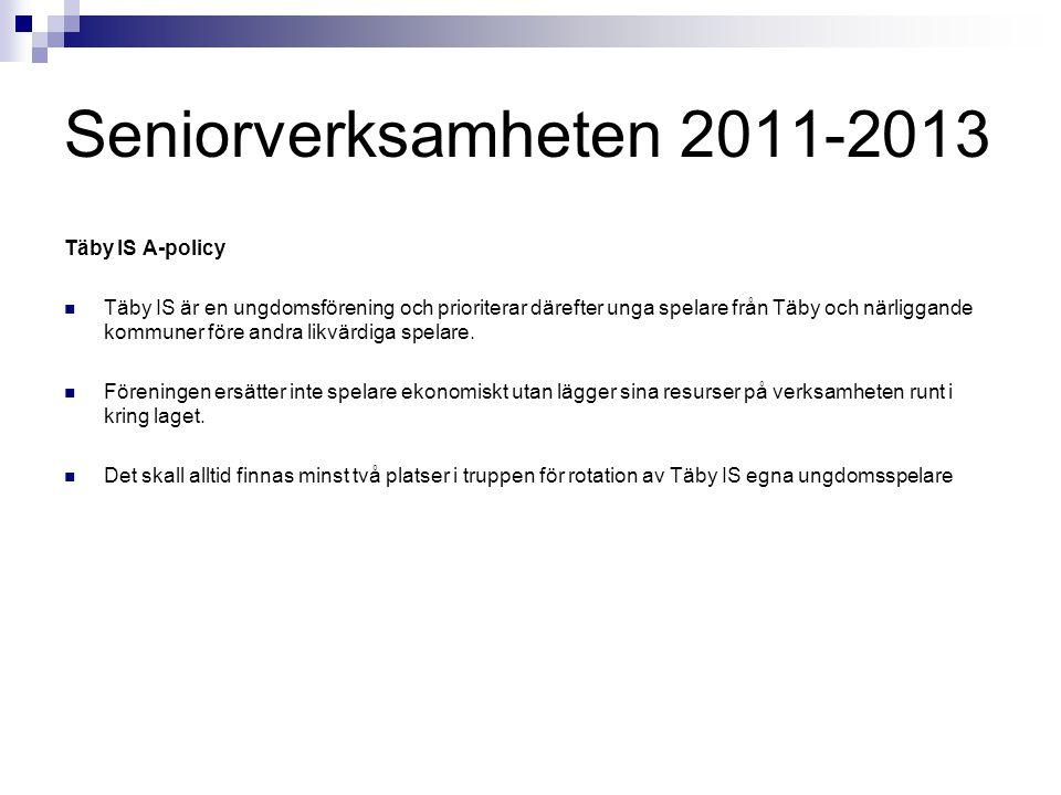 Seniorverksamheten 2011-2013 Täby IS A-policy Täby IS är en ungdomsförening och prioriterar därefter unga spelare från Täby och närliggande kommuner f