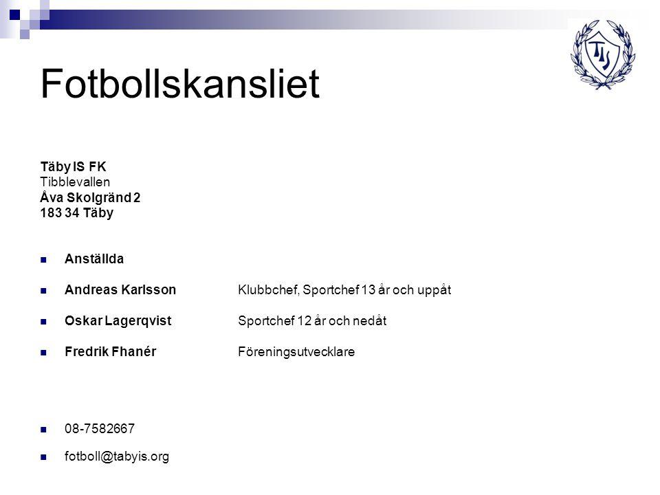 Fotbollskansliet Täby IS FK Tibblevallen Åva Skolgränd 2 183 34 Täby Anställda Andreas KarlssonKlubbchef, Sportchef 13 år och uppåt Oskar LagerqvistSp