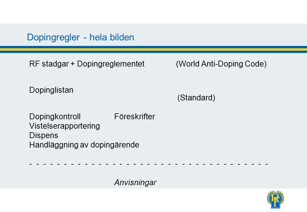 Dopingregler - hela bilden RF stadgar + Dopingreglementet (World Anti-Doping Code) Dopinglistan (Standard) DopingkontrollFöreskrifter Vistelserapportering Dispens Handläggning av dopingärende - - - - - - - - - - - - - - - - - - - - - - - - - - - - - - - - - - - Anvisningar