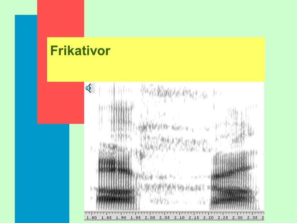 Frikativor n Luftströmmen passerar en förträngning så att brus bildas n Ljuden karaktäriseras av låg, oregelbunden intensitet n I intervokalisk positi