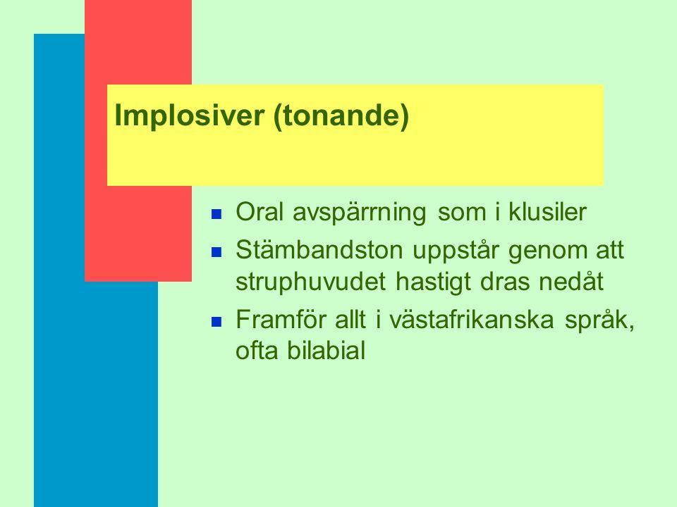 "Olika klickljud Bilabial: [‡] dental: [–] (post)alveolar: [—] palatoalveolar: [œ] alveolar lateral: [""]"