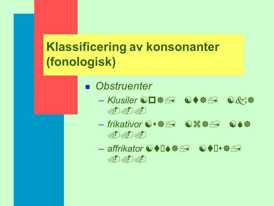 Klassificering av konsonanter (fonologisk) n Obstruenter –Ljud med annan ljudkälla än stämbandston eller annan ljudkälla plus stämbandston n Sonorante