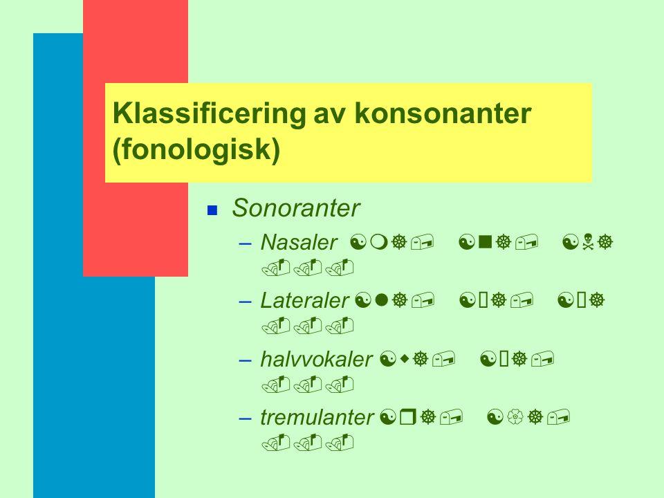 Klassificering av konsonanter (fonologisk) n Obstruenter –Klusiler [p], [t], [k]... –frikativor [s], [z], [S]... –affrikator [tíS], [tís],...