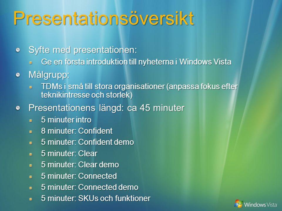 Presentationsöversikt Syfte med presentationen: Ge en första introduktion till nyheterna i Windows Vista Målgrupp: TDMs i små till stora organisationer (anpassa fokus efter teknikintresse och storlek) Presentationens längd: ca 45 minuter 5 minuter intro 8 minuter: Confident 5 minuter: Confident demo 5 minuter: Clear 5 minuter: Clear demo 5 minuter: Connected 5 minuter: Connected demo 5 minuter: SKUs och funktioner