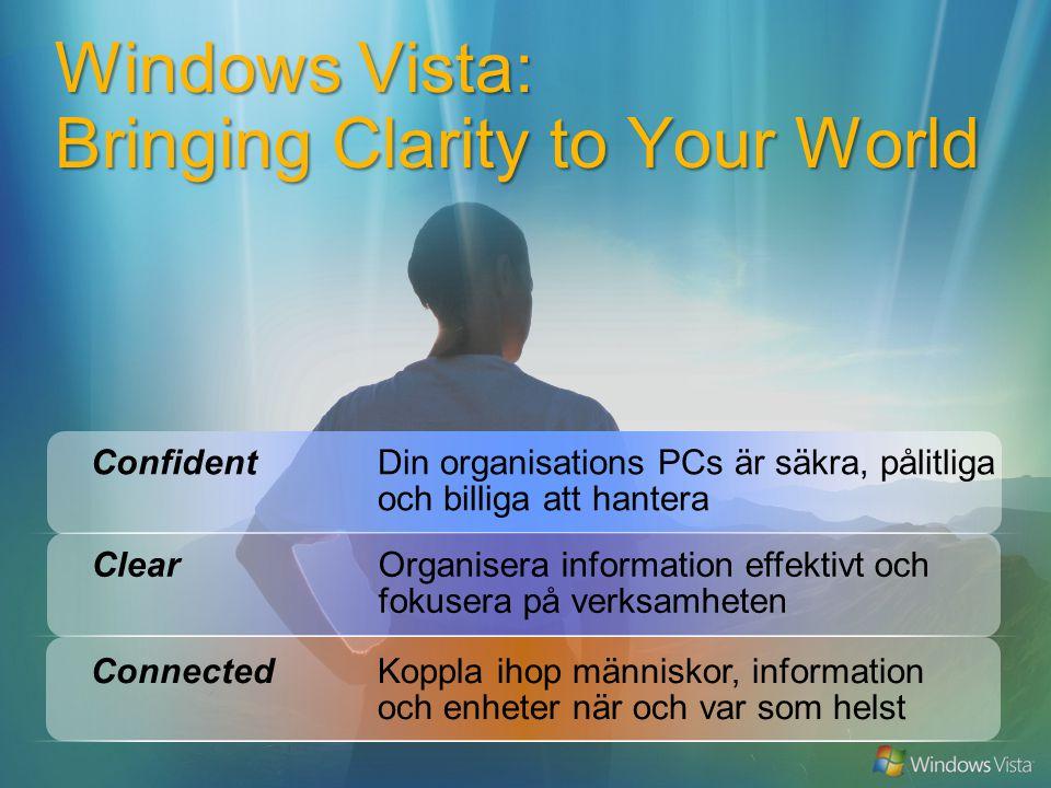 Windows Vista: Bringing Clarity to Your World ConnectedKoppla ihop människor, information och enheter när och var som helst ConfidentDin organisations PCs är säkra, pålitliga och billiga att hantera ClearOrganisera information effektivt och fokusera på verksamheten