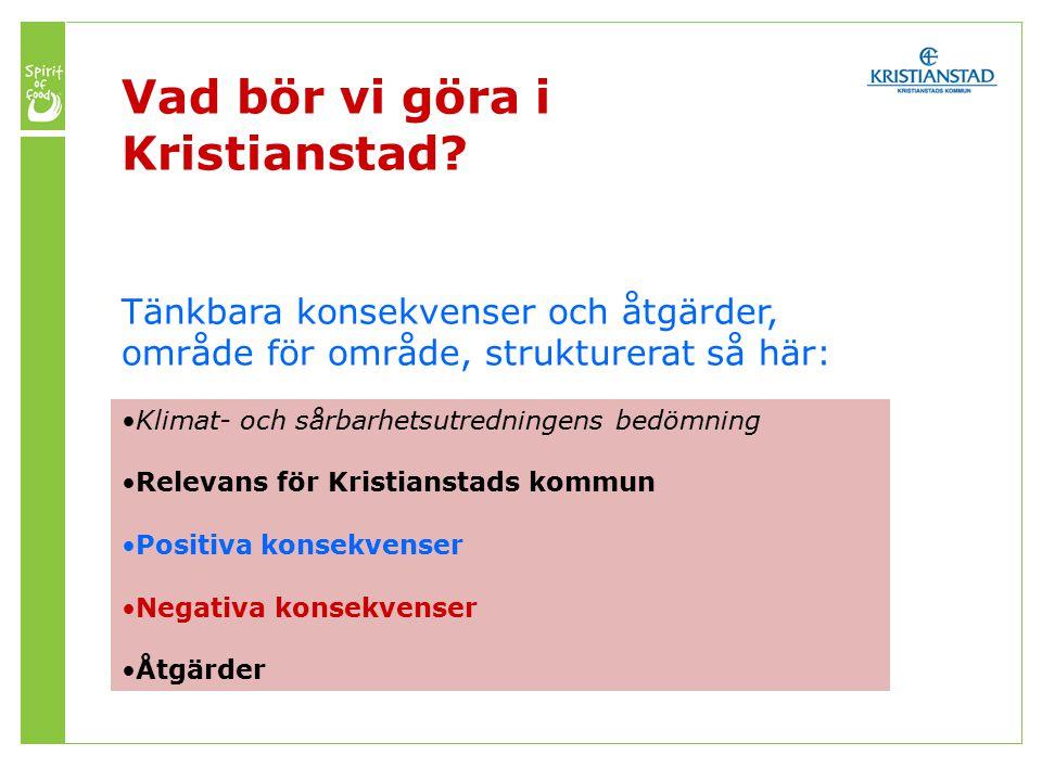 Tänkbara konsekvenser och åtgärder, område för område, strukturerat så här: Klimat- och sårbarhetsutredningens bedömning Relevans för Kristianstads kommun Positiva konsekvenser Negativa konsekvenser Åtgärder Vad bör vi göra i Kristianstad