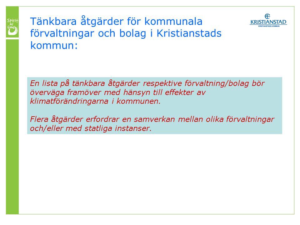 Tänkbara åtgärder för kommunala förvaltningar och bolag i Kristianstads kommun: En lista på tänkbara åtgärder respektive förvaltning/bolag bör överväga framöver med hänsyn till effekter av klimatförändringarna i kommunen.