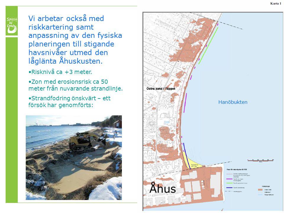 Vi arbetar också med riskkartering samt anpassning av den fysiska planeringen till stigande havsnivåer utmed den låglänta Åhuskusten.