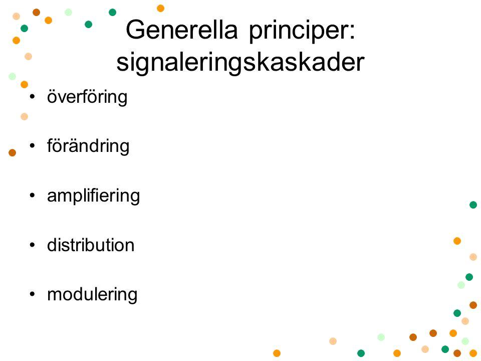 Generella principer: signaleringskaskader överföring förändring amplifiering distribution modulering