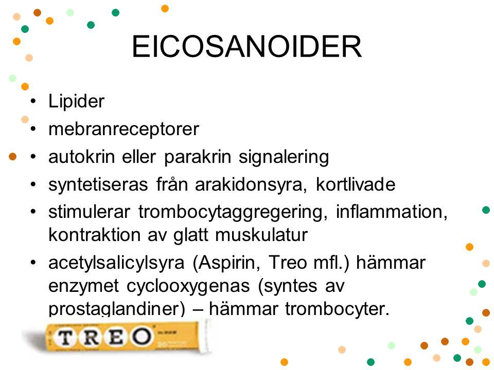 EICOSANOIDER Lipider mebranreceptorer autokrin eller parakrin signalering syntetiseras från arakidonsyra, kortlivade stimulerar trombocytaggregering,