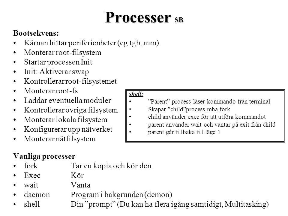 Processer SB Bootsekvens: Kärnan hittar periferienheter (eg tgb, mm) Monterar root-filsystem Startar processen Init Init: Aktiverar swap Kontrollerar