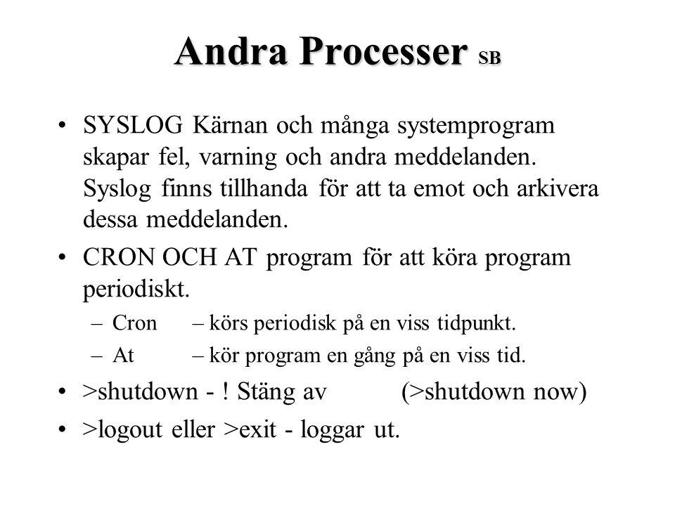 Andra Processer SB SYSLOGKärnan och många systemprogram skapar fel, varning och andra meddelanden. Syslog finns tillhanda för att ta emot och arkivera