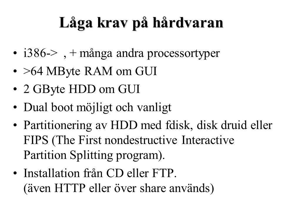 Process handling >ps PID TTY STAT TIME COMMAND 3626 p1 S 0:00 su john 3627 p1 S 0:00 bash 3768 p0 S 0:00 /bin/login -h oppringt-3.tisip.no -p 3769 p0 S 0:00 -bash 3782 p0 R 0:00 ps PID – Process ID, identifierar varje process unikt.