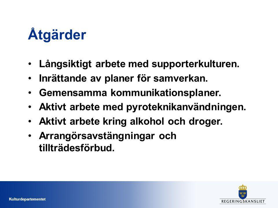 Kulturdepartementet Åtgärder Långsiktigt arbete med supporterkulturen.