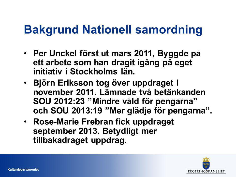 Kulturdepartementet Bakgrund Nationell samordning Per Unckel först ut mars 2011, Byggde på ett arbete som han dragit igång på eget initiativ i Stockholms län.