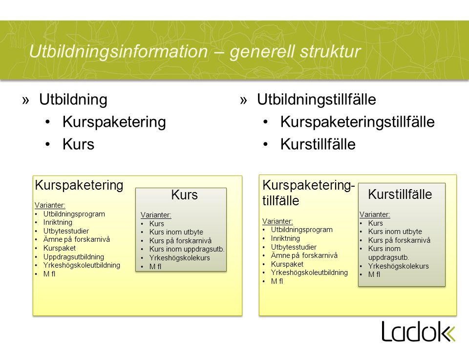 Utbildningsinformation – generell struktur Kurspaketering Varianter: Utbildningsprogram Inriktning Utbytesstudier Ämne på forskarnivå Kurspaket Uppdra